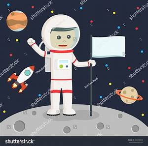 Astronaut Holding Flag Stock Illustration 504498904 ...