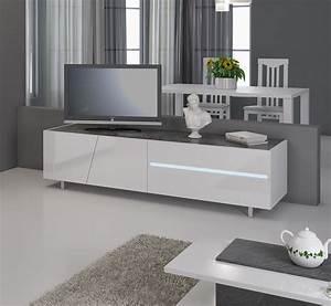 Meuble Tv Led Blanc Laqué : meuble tv design lizea zd1 m tv ~ Teatrodelosmanantiales.com Idées de Décoration