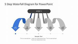 5 Steps Waterfall Powerpoint Diagram