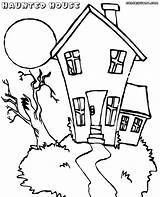 Haunted Coloring Pages sketch template