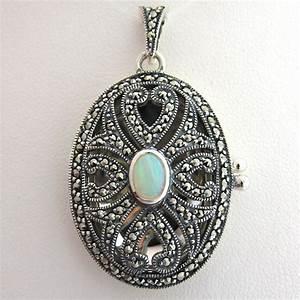 medaillon porte photo argent opale marcassites a 33 With bijoux porte photo