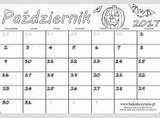 Kalendarz na październik 2017 do druku Darmowe PDF do druku