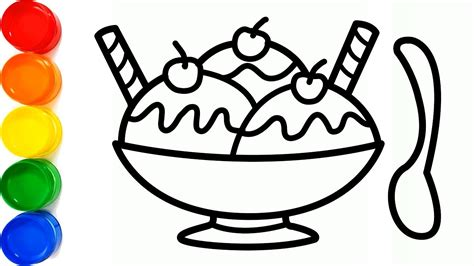 drawing  ice cream bowl  waffle cone  coloring