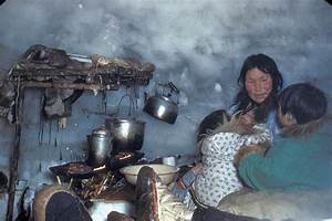 Inside a native family's igloo. Arviat (formerly Eskimo ...