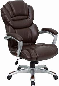 High, Back, Brown, Leather, Executive, Office, Chair, With, Leather, Padded, Loop, Arms, Go