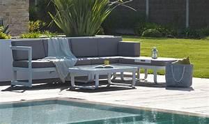 Salon De Jardin Exterieur : salon de jardin en angle 6 places alu blanc et tissu gris ~ Melissatoandfro.com Idées de Décoration