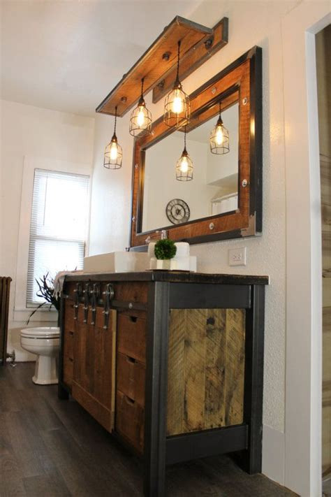 rustic industrial light steel  barn wood vanity light
