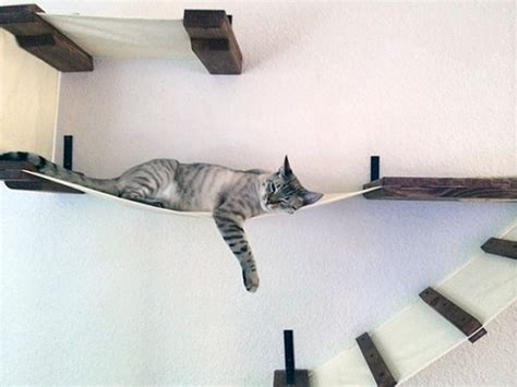 stretched fabric cat climbing structures from catastrophicreations hauspanther