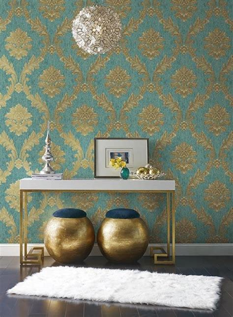 acanthus fan wallpaper  gold turquoise  brown