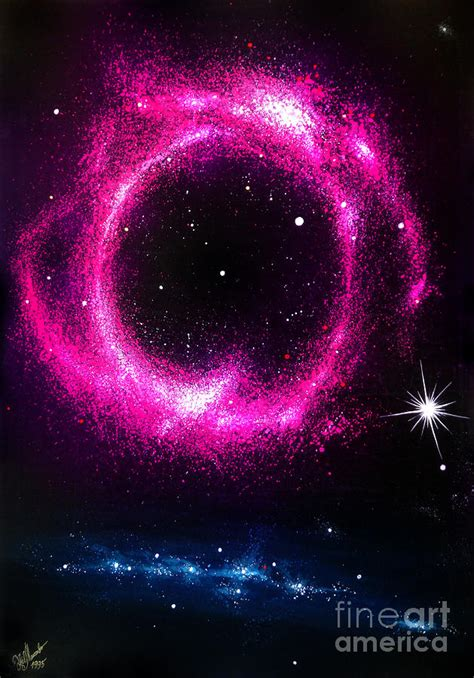Fuchsia Ring Shaped Galaxy Beautiful Space Painting By