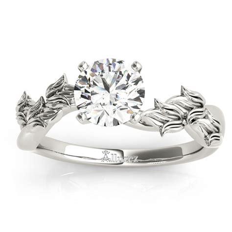 solitaire vine leaf engagement ring setting platinum