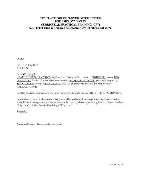 employment offer letter template offer letter template fotolip rich image and