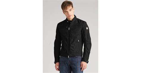 Moncler Canvas Motorcycle Jacket In Black For Men