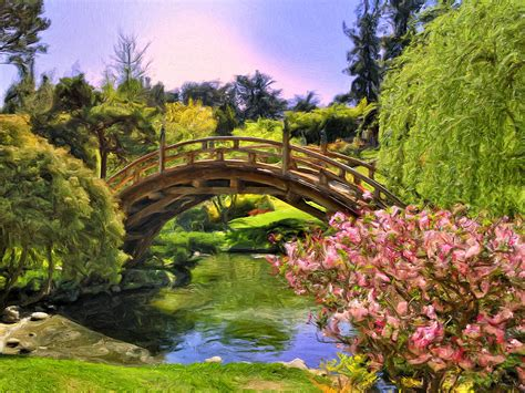 Japanese Garden Painting By Dominic Piperata