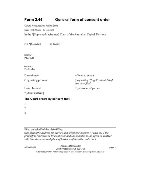 consent order forms  samples examples format
