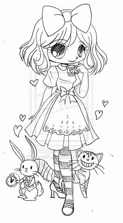 Chibi Coloring Pages Alice Wonderland Deviantart Yampuff