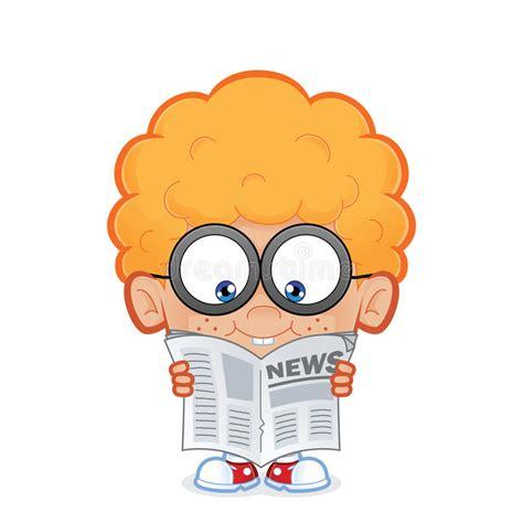 Nerd Boy Reading A Newspaper Stock Vector Illustration
