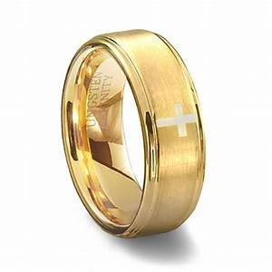 gold brushed tungsten cross wedding ring With cross wedding ring