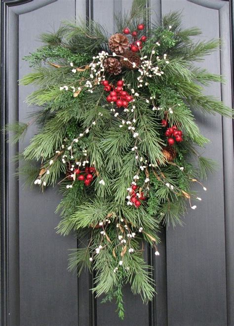 holiday swag wreath christmas pine berries and