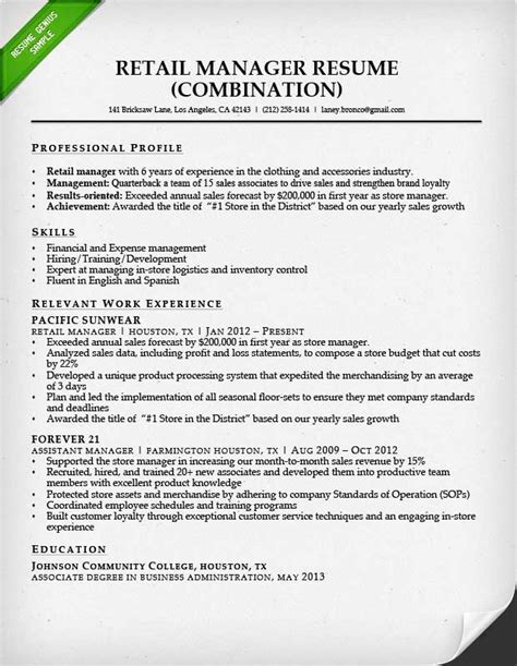 career objective exles for fashion retail stores retail sales associate resume sle writing guide rg