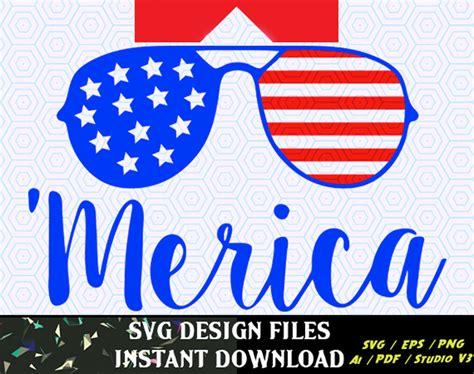 American sunglasses svg cut file. Merica SVG American flag Sunglasses frames 4th of July svg