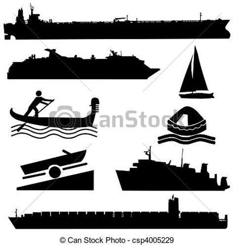 Motorboat En Espanol by Stock Illustration Of Assorted Boat Silhouettes Container