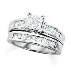 2 ct princess cut engagement rings engagement ring 2 ct t w princess cut bridal set in 14k white gold wedding