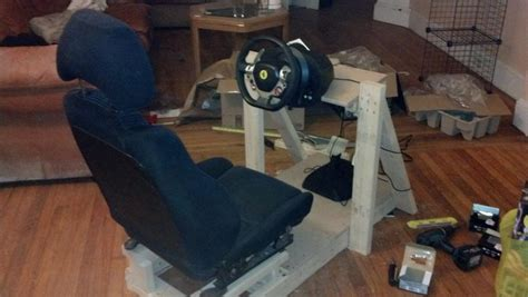 diy wood sim racing rig solid   setup sim