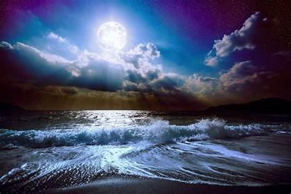 Moon Night Sky Ocean Nature Sea Moonlight