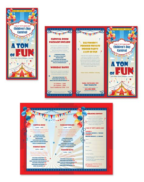 Travel Template For Kids by 10 Best Images Of Kids Carnival Flyer Template Tri Fold