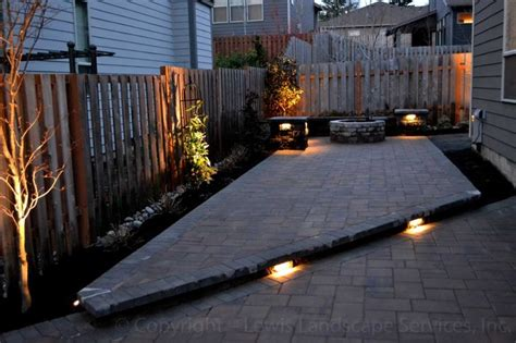 paver patio seat wall pit outdoor lighting