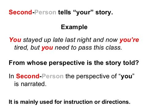 Resume 1st Or 3rd Person by Second And Third Person Lesson