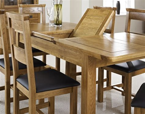 Extended Dining Room Tables by Oak Extending Dining Table With Four Chairs