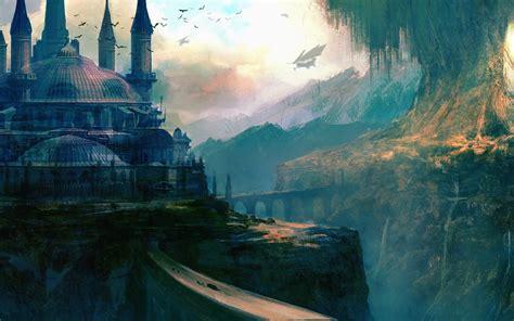 tree, Building, Art, Sky, Ship, Fantasy, Mountains ...