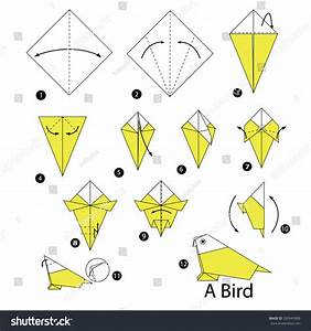 Step By Step Instructions How To Make Origami Bird  Stock Vector Illustration 330545909