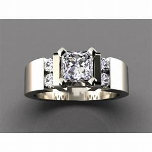 wide band engagement ring for round or princess diamond center With wide band wedding rings