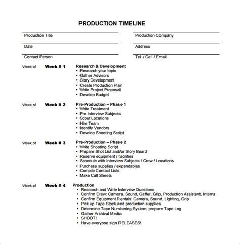 sample production timeline templates