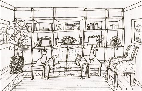 One Point Perspective Interior Drawing Hand Living Room