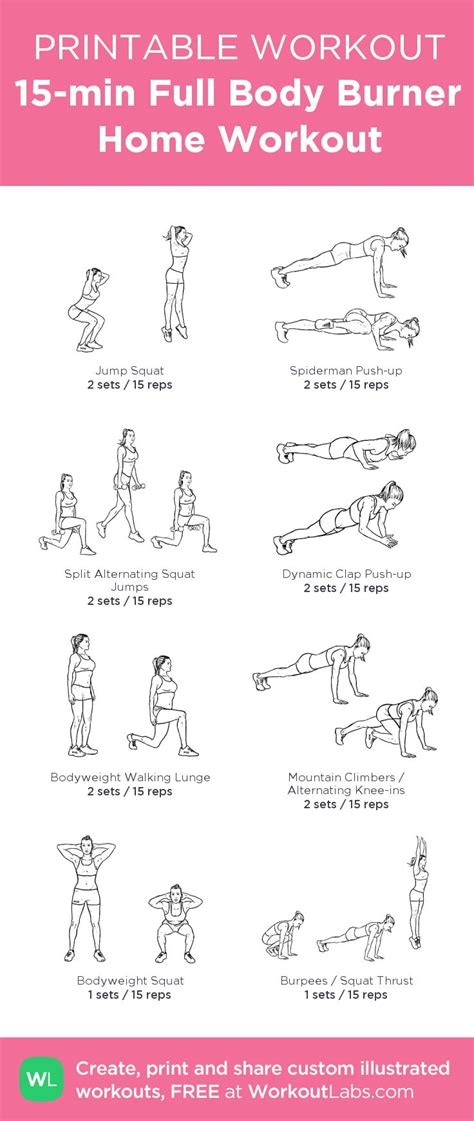 workouts fitness workout printable body routine exercises plan pdf equipment minute minutes health