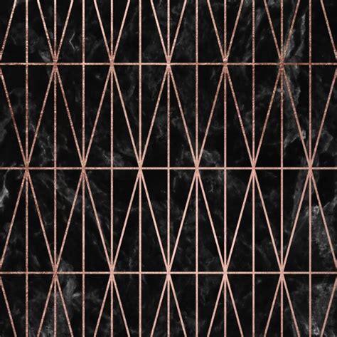 modern geometric triangles faux rose gold pattern  black