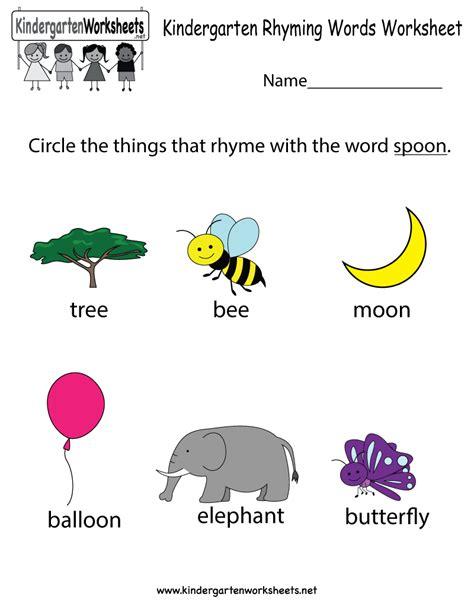 this is rhyming words worksheet for kindergarteners you