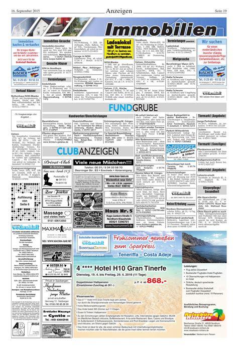 Haus Kaufen Nordhorn Blanke by Grafschafter Wochenblatt 16 9 2015 By Sonntagszeitung Issuu