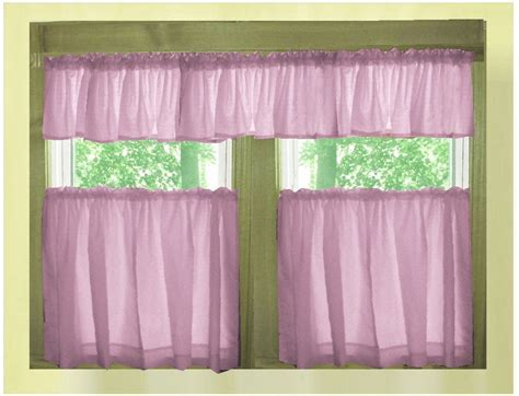 Violet purple color tier kitchen curtain two panel set