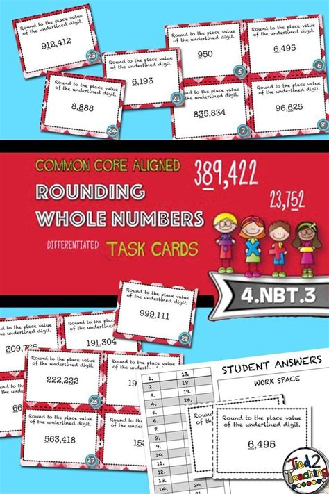 Rounding Whole Numbers Task Cards  28 Common Core Aligned Middle Grades Cards