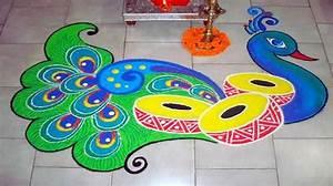 Beautiful & Simple Peacock Rangoli Designs Images
