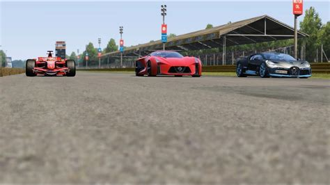 Forza horizon 4 drag race: Ferrari F1 F2007 vs Nissan Concept 2020 Vision GT vs Bugatti Divo