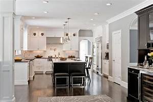 two tone kitchen ideas transitional kitchen venegas With kitchen colors with white cabinets with custom name wall art