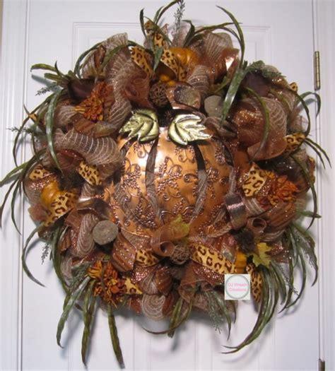 fall copper pumpkin wreath fall deco mesh cooper pumpkin