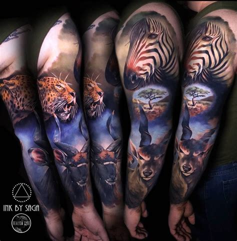 africa sleeve animal sleeve tattoo  sleeve tattoos
