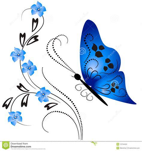 Ornamento Da Flor Com Borboleta Ilustração do Vetor